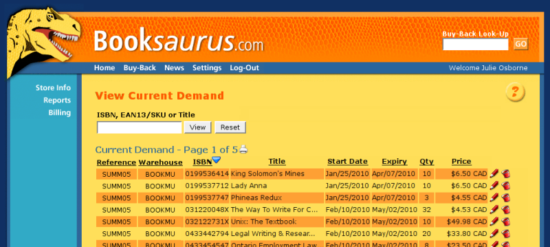 screenshot of booksaurus website